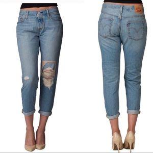 Levi's 501 CT Distressed Patch Boyfriend Jeans 29
